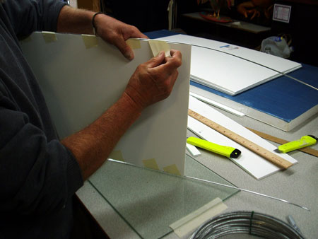 Foam core panels - taping wire into edges for strength and flexibility.