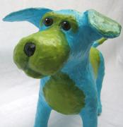 Blue and Green Dog by Moni