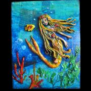 Mermaid on Mixed Media Background by Christina Colwell