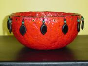 red beaded bowl by Andrea Charendoff