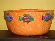 large orange fish bowl by Andrea Charendoff