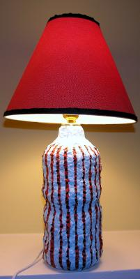 """Blue and Rust Striped Lamp"" by Elsa Rubenstein"