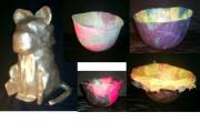Cat and Bowls by Ann Noble