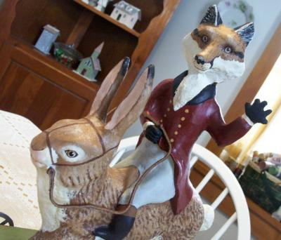 """fox and old world rabbit"" by Lynne OBrien"