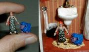 Tiny ATC Dollhouse Doll & sheepBlue by Mark Patraw