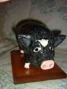"Piggy ""Patches"" On wooden Base by Carolyn Bispels"