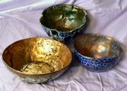 Three large bowls by Julie Whitham