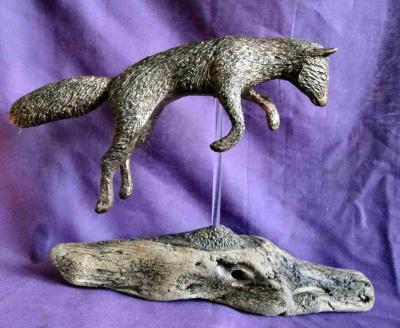 """Pouncing Fox Sculpture"" by Julie Whitham"