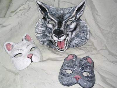 """Wolf and Cat Masks"" by Patience"