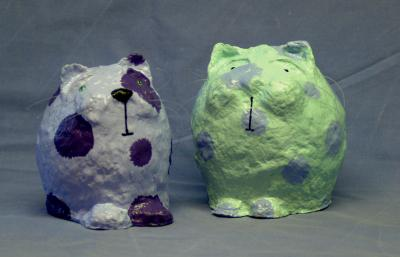 """cat money boxes"" by Allie Scott"