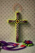 Green Checkerboard Cross by Holly St.Denis