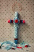 Blue Polka Dot Cross by Holly St.Denis
