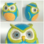 Blue, Orange, & Green Owl by Holly St.Denis