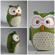 Large Green Owl by Holly St.Denis