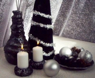 """Christmas decorations in silver and black"" by Iva Mincheva"