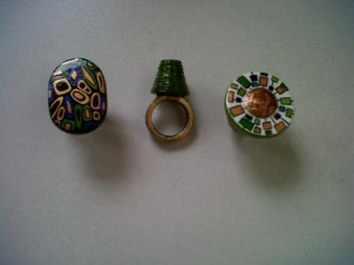 """papier mache rings"" by Evangeline Duplessis"