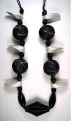 """papier mache and onyx necklace"" by Evangeline Duplessis"