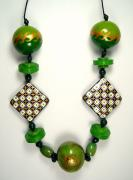 Green checkerboard necklace by Evangeline Duplessis