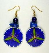 hand painted papier mache earrings with lapis lazuli by Evangeline Duplessis