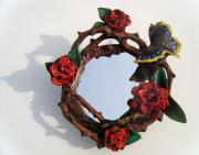 Red Rose Wreath Mirror by Sarah Hage