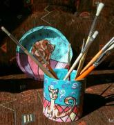 Cat Plate and Pen Holder by Bilja