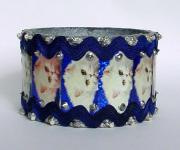 Cats in Silver & Blue Bangle by Alison Day