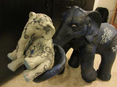 """Family of elephants"" by Eva Goldman"