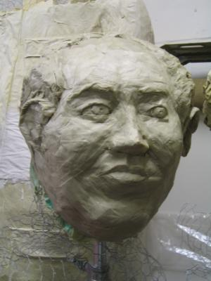 """Chaiman Mao - papier mache portrait"" by Steve Yeates"