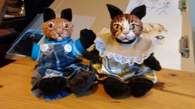 """paper clay cat heads with cloth bodies"" by Marilyn Kalbhenn"